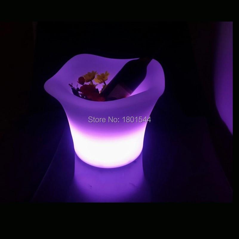 PE Plastic Night Club Use Home Decoration Lighting Up Ice Bucket Flower Bucekt