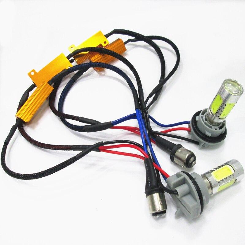 ФОТО 2PCS S25 BAY15D 1157 7.5W + decoder High Power Canbus No Error brake light Reversing lights Turn lights Head Lamp DRL White 12V