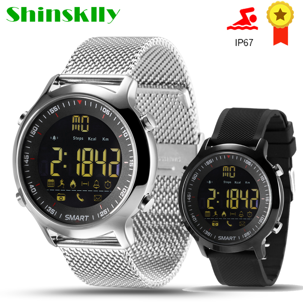 Shinsklly <font><b>Smart</b></font> <font><b>Watch</b></font> <font><b>EX18</b></font> IP67 Waterproof Support Call and SMS alert Pedometer Sports Activities Tracker Wristwatch Smartwatch image