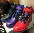 2015 Three Options Black/Purple/Red Men Shoes Stylish Rivets Studded Lace Up High-Top Luxury Shoes Big Size 39-46