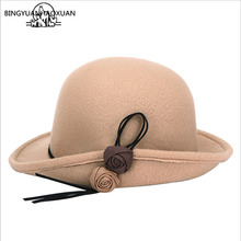 BINGYUANHAOXUAN Womens 2018 Fedora Hat with Flower Wool Round Fashion Colorful Sunproof Solid Colors