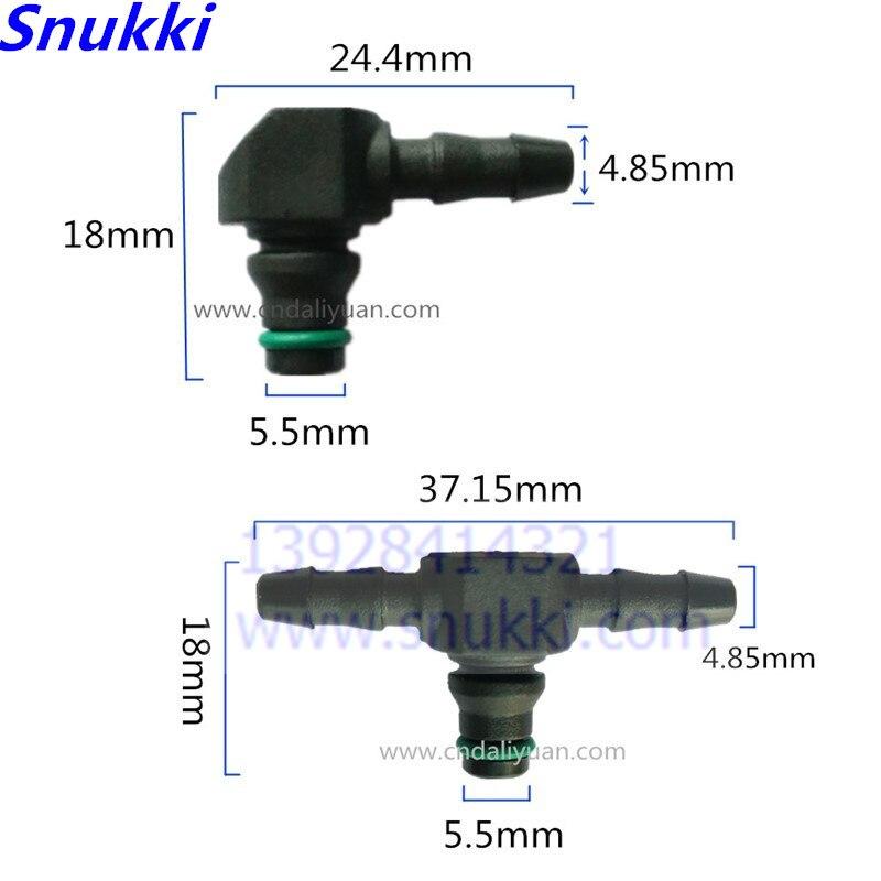 L und T typ Schiene Injektor Rückkehr Öl Rückfluss Rohr Stecker Kunststoff T stecker für Bosch 110 Serie Injektor 5 stücke eine lo