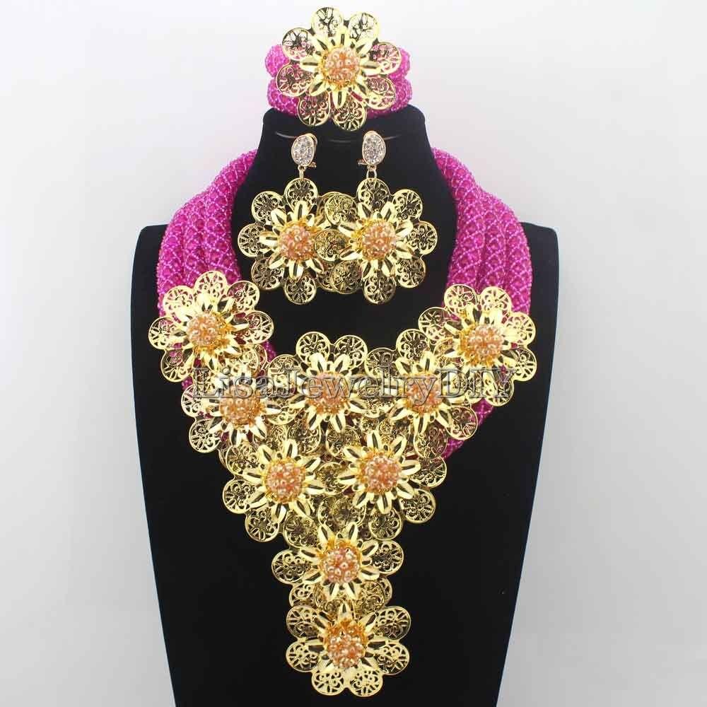 купить Splendid Fuschia Pink/ Crystal Statement Necklace Set Wedding African Beads Flower Jewelry Set for Women Free ShippingHD8707 по цене 4364.76 рублей