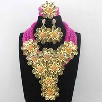 Splendid Fuschia Pink/ Crystal Statement Necklace Set Wedding African Beads Flower Jewelry Set for Women Free ShippingHD8707