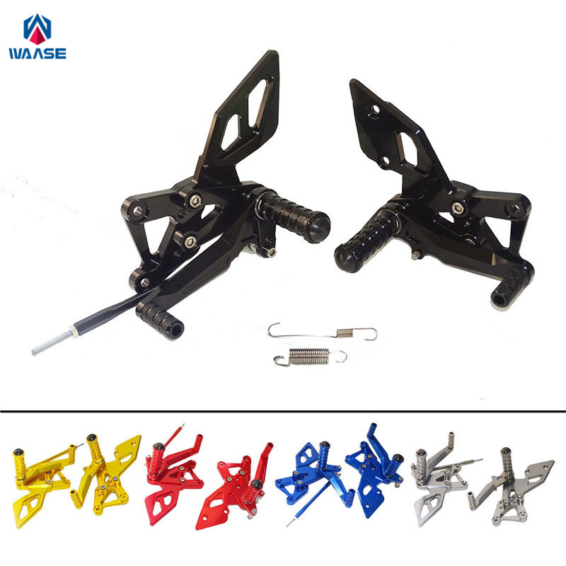 waase MT-03 MT-25 Adjustable Rider Rear Set Rearsets Footrest Foot Rest Pegs For Yamaha YZF R3 R25 MT25 MT03 2014 2015 2016 2017 kickstand foot side stand extension pad support plate for yamaha yzf r3 r25 mt 03 mt 25 2014 2015 2016
