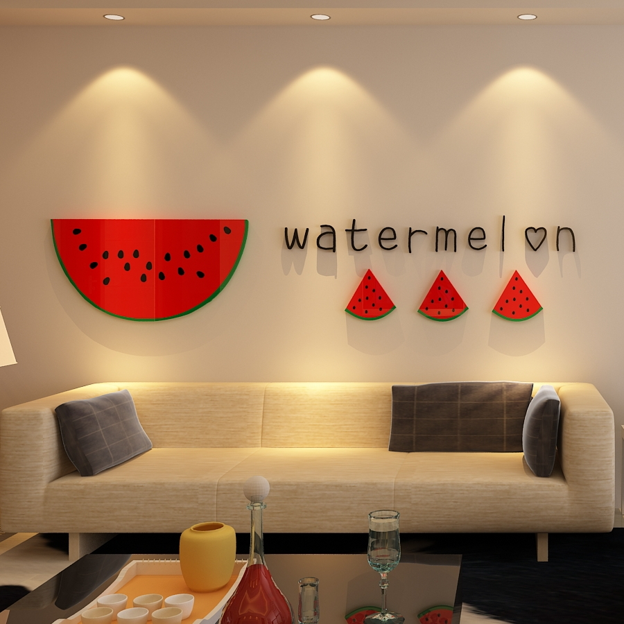 Creative INS big watermelon DIY childrens room bedroom home living TV background wall decoration 3D acrylic stickers