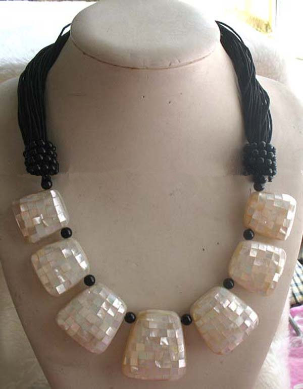 white sea  shell square  28-35*30-40mm necklace 21inch FPPJ wholesale beads nature