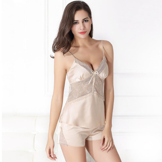 f71b03d0db Camisolas elegantes para mulheres pijamas Lingerie camisola de cetim pijamas  sexy sleepwear terno macacão SY0012