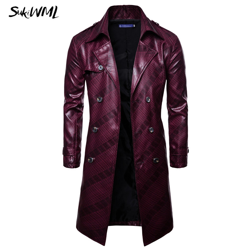SUKIMWL Trench Coat Homme 2018 New Fashion Mens Long PU Leather Trench Coat Autumn Long Jacket For Men Slim Fit Winter Coat Mens