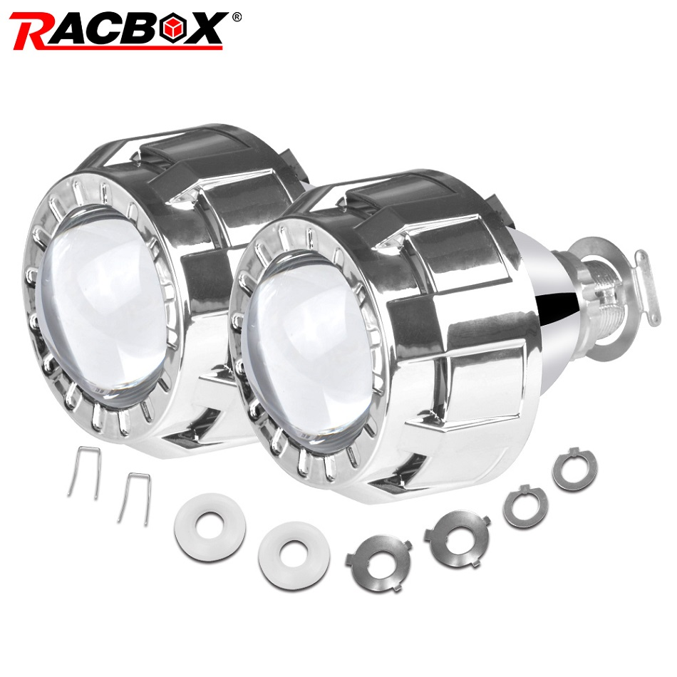 RACBOX 2.0 1.8 Inch HID Bi Xenon Mini Projector Lenses For H4 H7 Headlights Lens Car Retrofit Hi/Low Beam Use H1 Xenon Bulbs