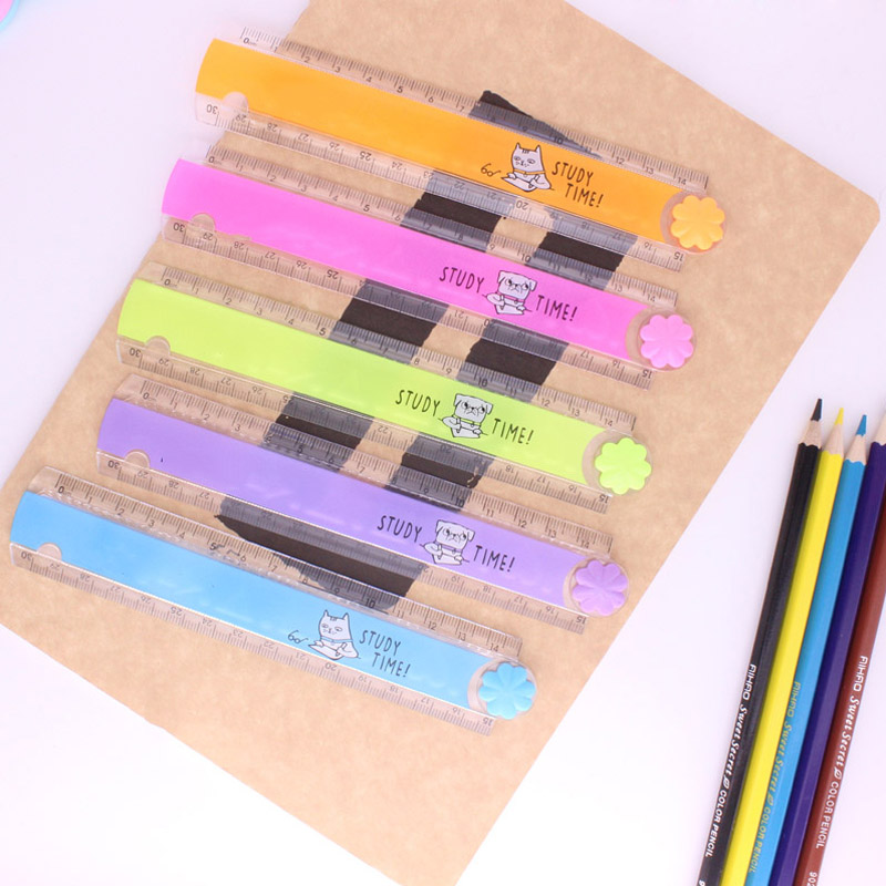 1PCS 30cm Multifunctional Wave Ruler Folding Ruler Scale Cute Cartoon Candy Color Plastic School Drawing Ruler For Kids Gift