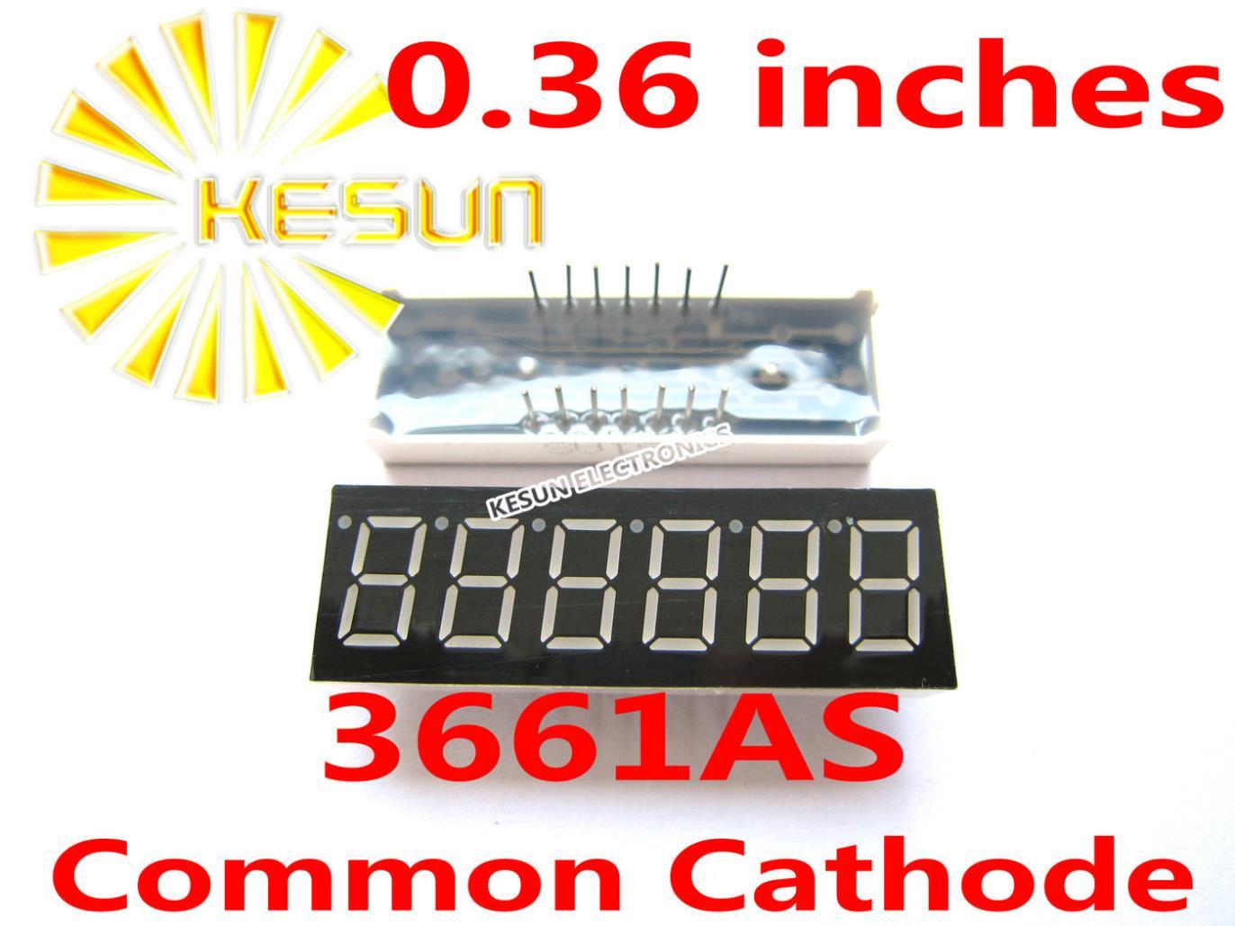 50 шт. x 0,36 дюйм(ов) Красный общий катод/анод 6 цифровой пробки 3661AS 3661BS светодиодный Дисплей модуль легкие бусы