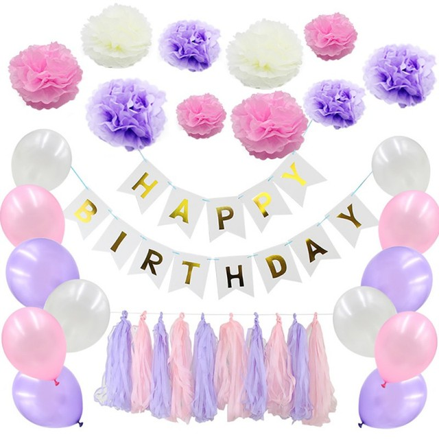 Pink Balloon Happy Birthday Banner White Tissue Paper Tassel Garland Pompom Decorations Girl Boy Kid Party Favors Decor