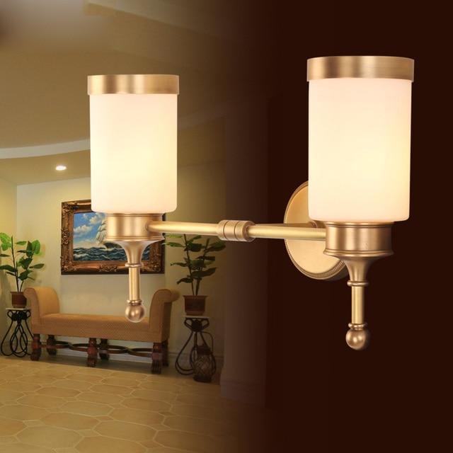 Americano minimalista moderna sala de lámparas cobre estudio cuarto baño la  pared lámpara lente faro estilo S0