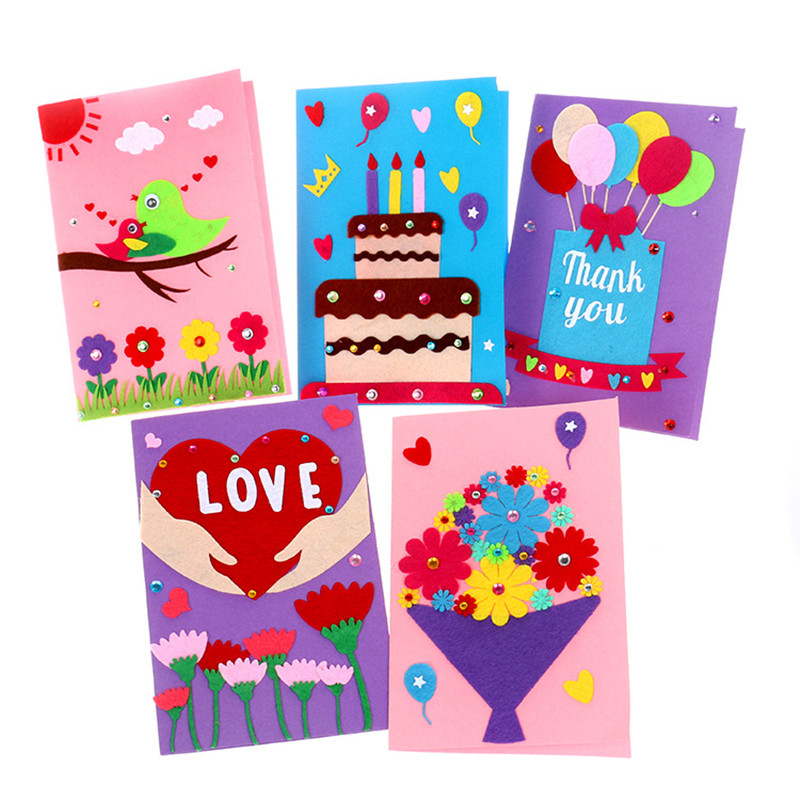 5PCS Children's DIY Homemade Cards Material Package Birthday Holiday Thanksgiving Congratulatory Card Education Handmade Toy