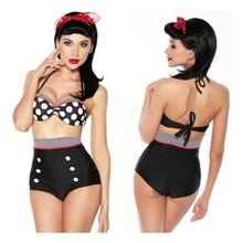 Cutest Retro Swimsuit Swimwear Vintage High Waist Bikini Set (Color: Black)