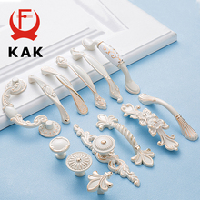 KAK Zinc Aolly Ivory White Cabinet Handles Kitchen Cupboard Door Pulls Drawer Knobs European Fashion Furniture Handle Hardware cheap Metalworking Zinc Alloy NONE CN(Origin) KAK-1015 Furniture Handle Knob single hole 64mm 96mm 128mm American cabinet handle drawer knobs furniture handle etc