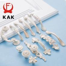KAK Zinc aleación marfil blanco manijas del Gabinete de la puerta del armario de la cocina tiradores pomos de cajones de la moda europea manija de los muebles de Hardware