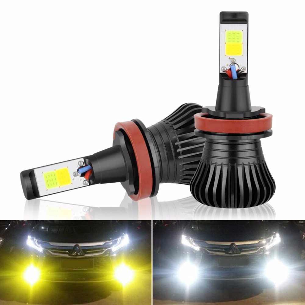 H11 H8 H9 H16(JP) LED Fog Light Bulb DRL Lamp, Dual Color in One Design White and Amber Switch Freely, 12V 2800LM Auto Bulb
