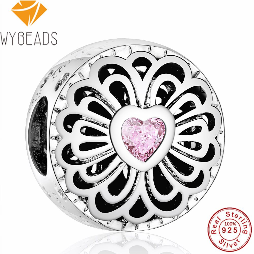 WYBEADS Fine 925 Sterling Silver Love & Friendship Pink Hearts CZ Charms European Bead Fit Bracelet DIY Accessories Jewelry T309
