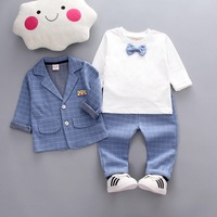3 Pieces Baby Boy Suit Set Fashion Three uarters Sleeve Plaid Blazer Cotton T Shirt and Pants For 1 5 Years Kid Clothes