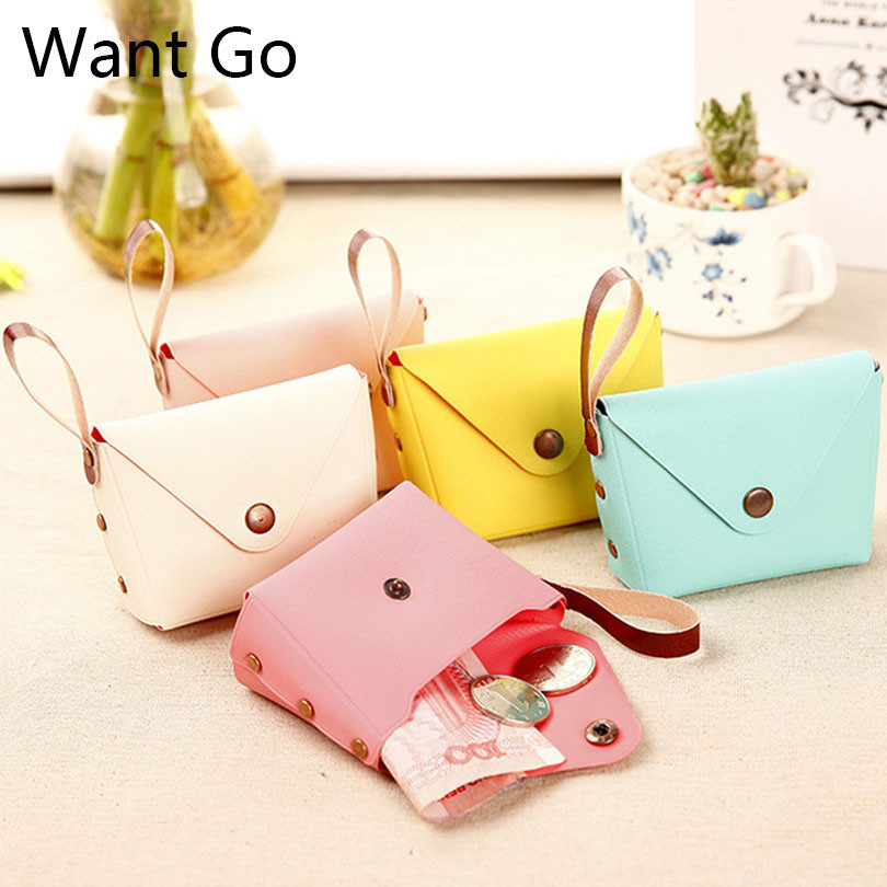 Want Go Casual Women Macaron Coin Purse Candy Color Mini Change Wallet Purse Waterproof Buckle Coin Bag Lady Small Storage Bag
