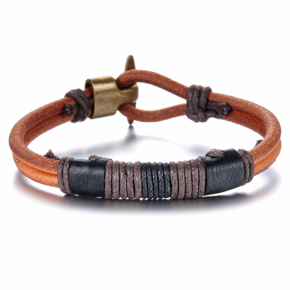 Cool Vintage Brown Leather Bracelet For Men Color Bronze Alloy Wrist Band  Men's Summer Jewelry Fashion