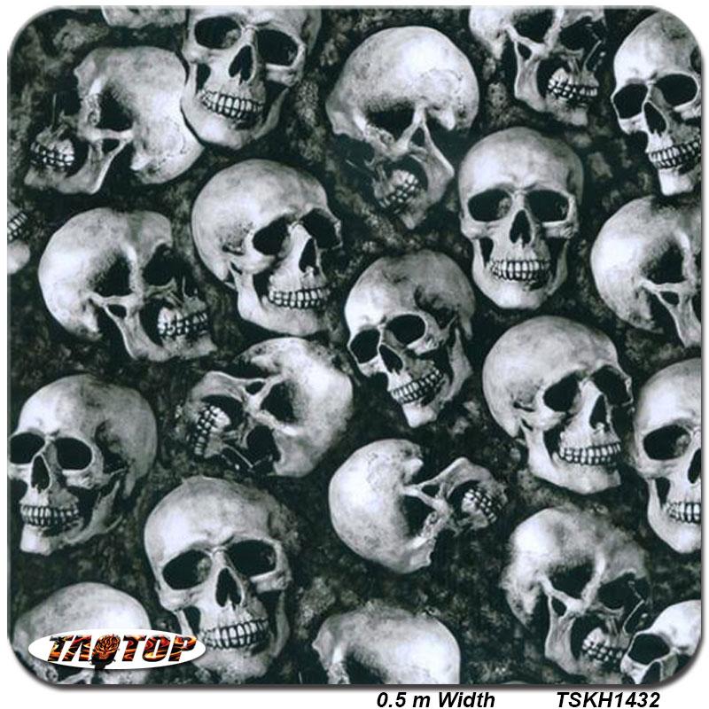 ITAATOP TSKH1432 0.5m *2M Popular Black Skull Hydro Dip Film Water Transfer Printing Film Hydrographic Film