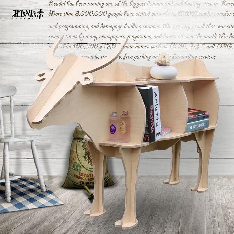 Scandinavian bovine animal mascot shelving creative shelves wooden ornaments home decorations,Nordic hotel restaurant decor