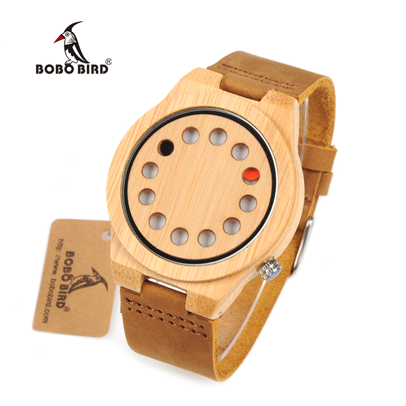 BOBO BIRD WD08 Bamboo Wooden Watch 12 Holes Brand Design Dial Face Fashion Wood Watches for Men Women 2017 pure face design wooden watch for