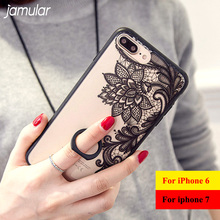 JAMULAR Crystal Flower Phone Case for iPhone 8 7 6 6s Plus Ring Holder Clear Plastic Hard Cover for iPhone 6s 7 Plus Cases
