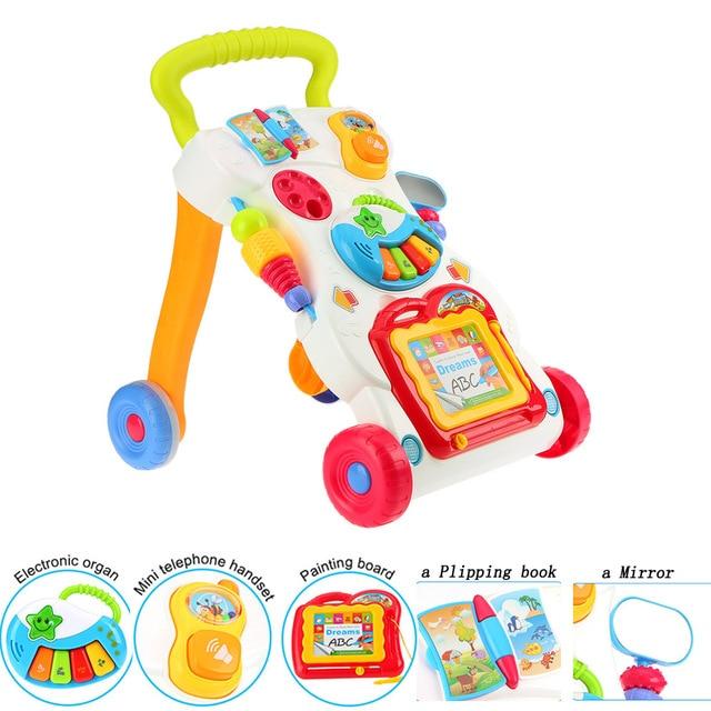 Juguetes Andador de bebé de alta calidad multifunción carrito de niño pequeño asiento a pie ABS andador Musical con tornillo ajustable para de niño