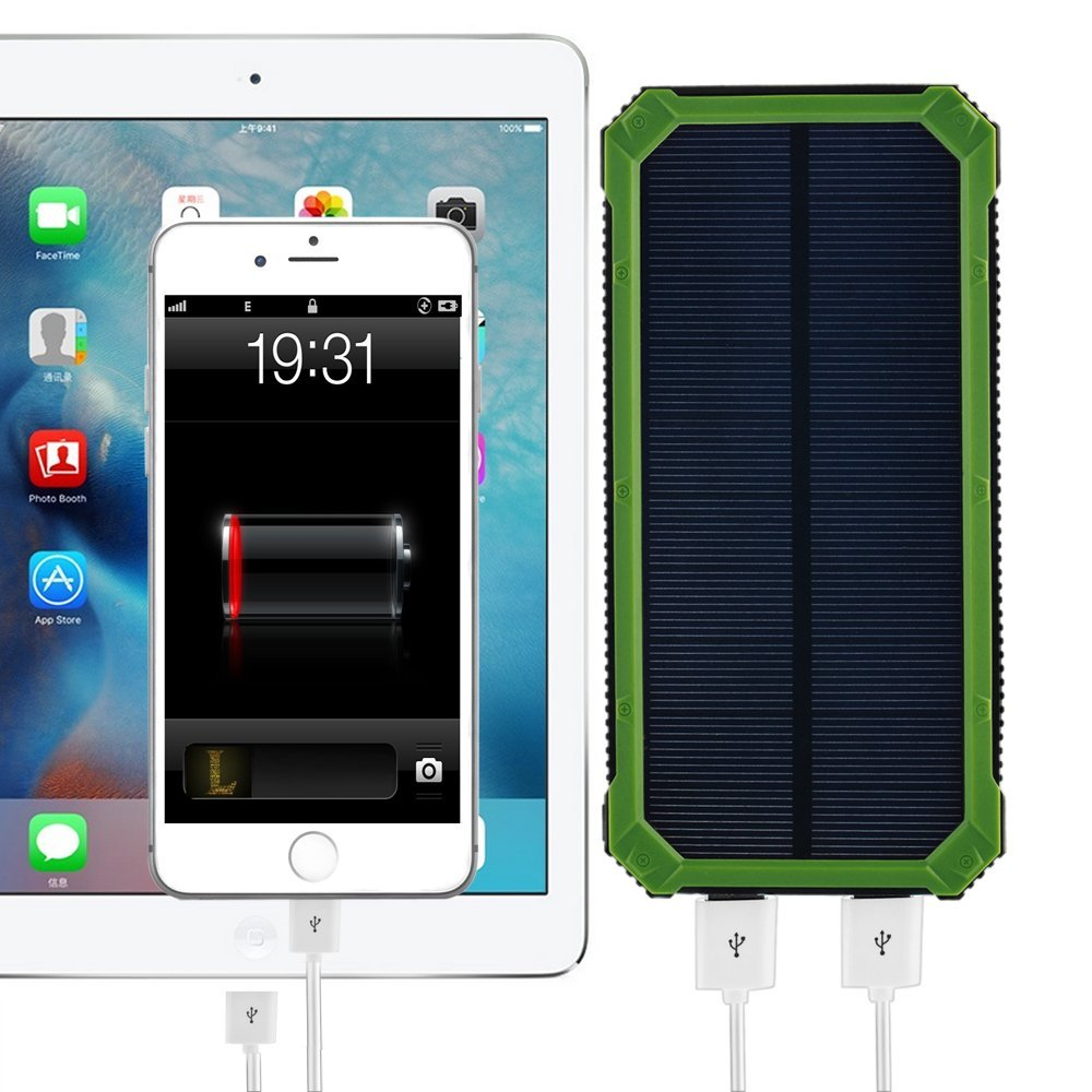 PowerGreen Solar Charger 15000mAh Power Bank External Battery Pack Solar Cell for Phone with LED Light Sunny Station