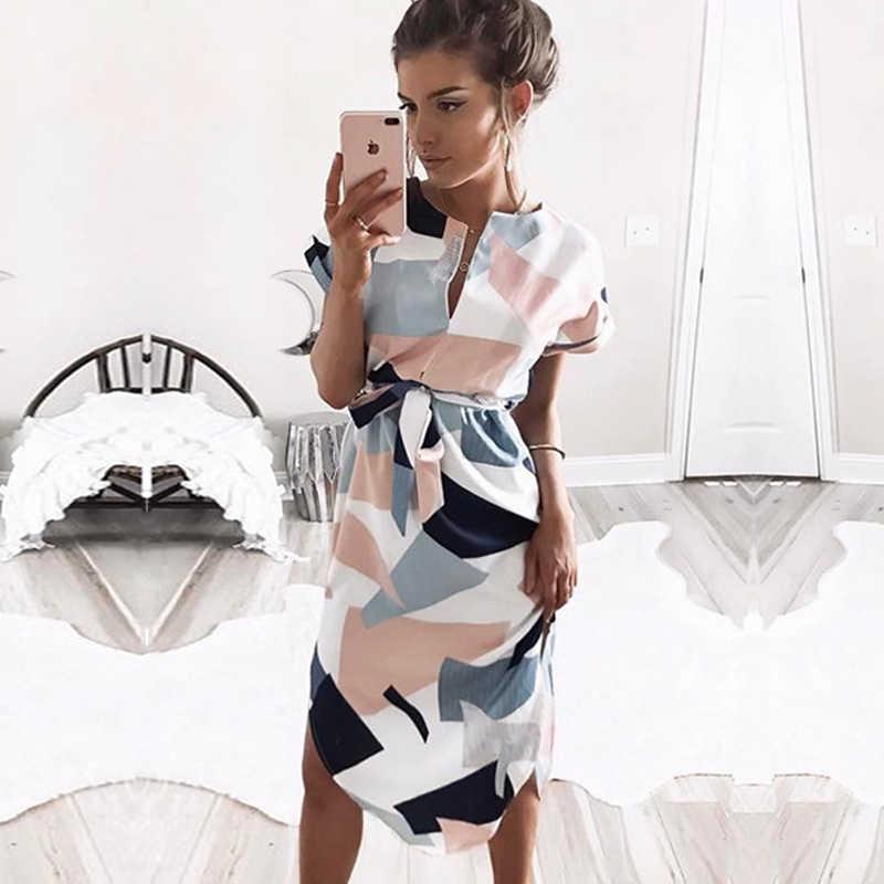サマードレス 2019 女性自由奔放に生きるスタイル幾何学プリントビーチドレスエレガントなパーティードレスベルト vestidos デ · フィエスタプラスサイズ XXXL