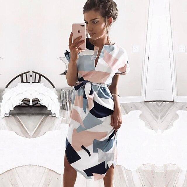 Летнее платье 2019 женское богемное стильное пляжное платье с геометрическим принтом элегантные вечерние платья с поясом Vestidos de fiesta плюс размер XXXL