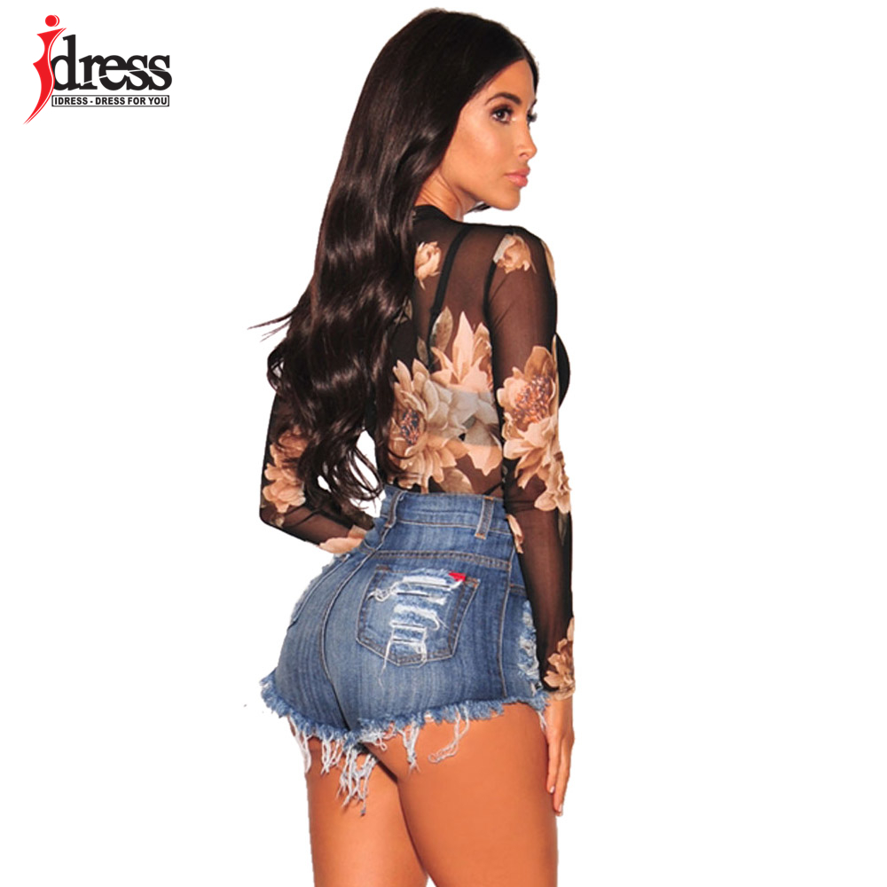 IDress New Sheer Trutleneck Sexy Club Jumpsuits Women Rompers Lace Bodycon  Overalls Body Long Sleeve Black Flower Mesh Bodysuit-in Bodysuits from  Women s ... 939c0b6ca890