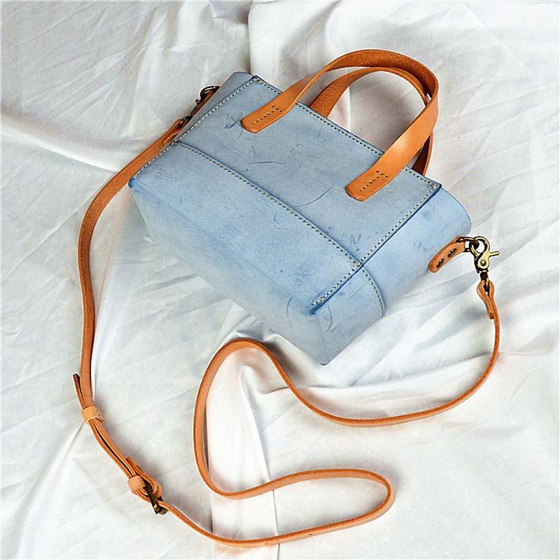 2018 explosion retro leather handbags white fog wax handmade hibiscus tree bag leather bag Messenger bag