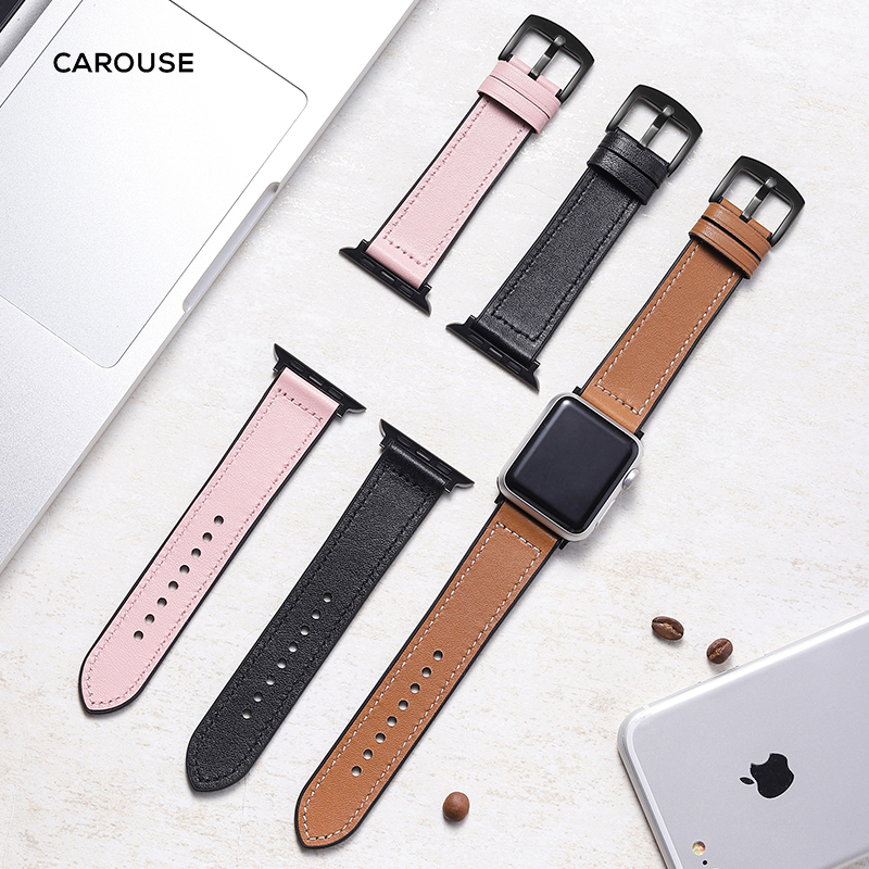 Carouse Leather Silicone Band For Apple Watch Band Series 3/2/1 38mm 42mm Bracelet Strap For Iwatch Series 4 40mm 44mm Watchband