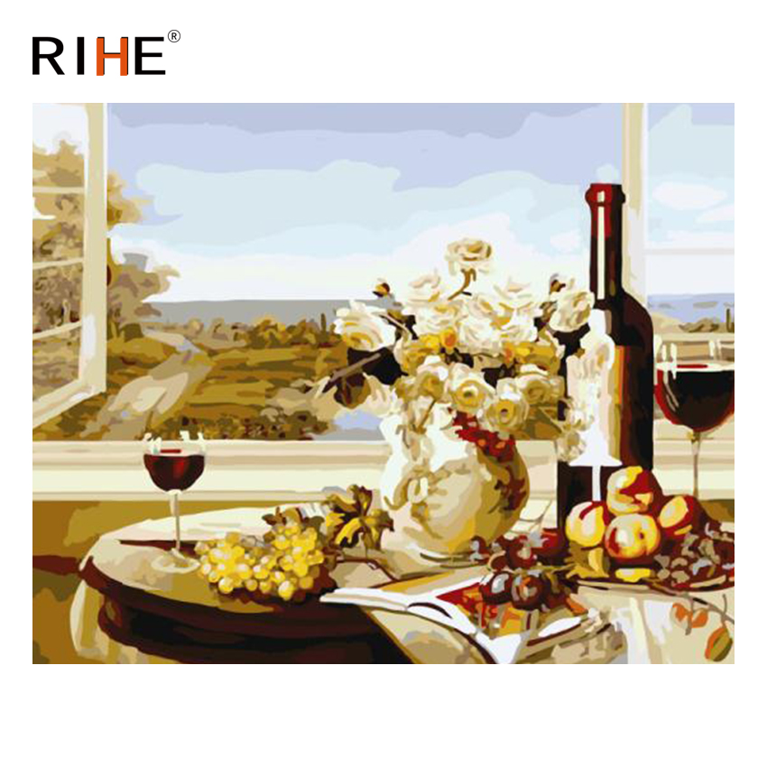 RIHE Overlook Diy Painting By Numbers Abstract Wine Oil On Canvas Cuadros Decoracion Acrylic Wall Picture Home Decor