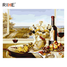 RIHE Overlook Diy Painting By Numbers Abstract Wine Oil Painting On Canvas Cuadros Decoracion Acrylic Wall Picture Home Decor rihe fall park diy painting by numbers chair woman oil painting on canvas cuadros decoracion acrylic wall picture home decor