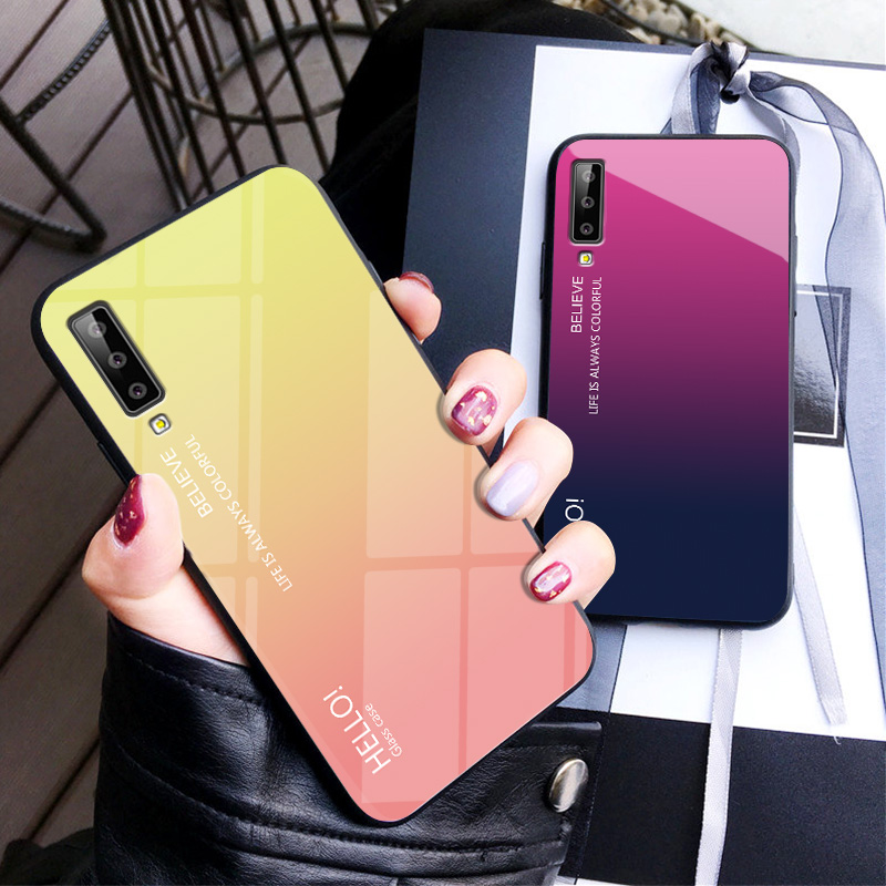 the best attitude bc141 f5a06 US $3.0 6% OFF|For Samsung Galaxy A7 2018 Case Fashion Hard Tempered Glass  Fashion Gradient Protect Back Cover case For samsung a7 2018 A750-in Fitted  ...