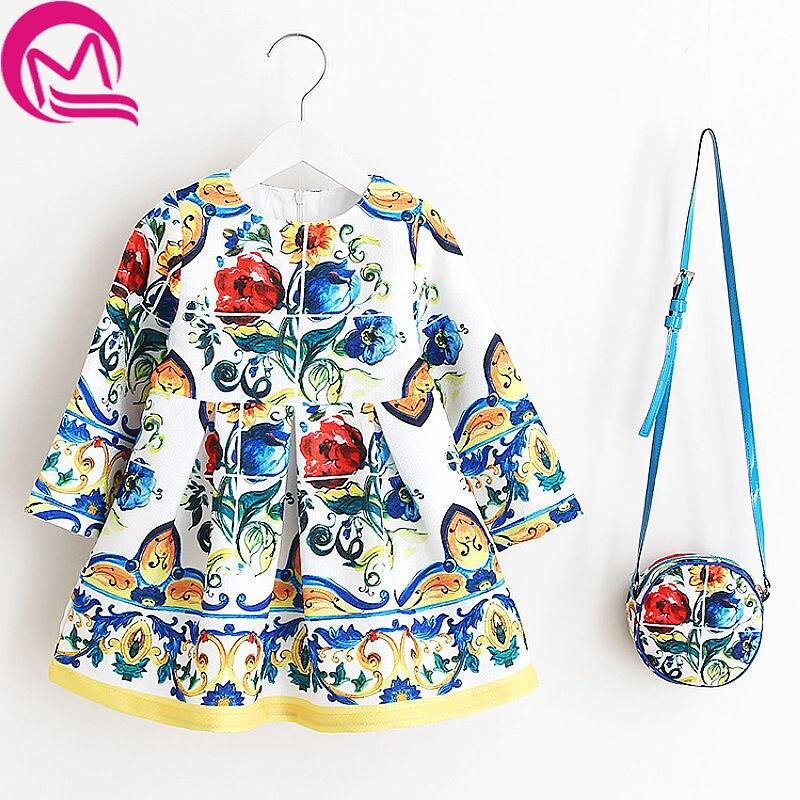 Girls Dress Kinderkleding Meisjes 2017 Spring Brand Children Costume for Kids Dresses Clothes Character Princess Dress with Bag