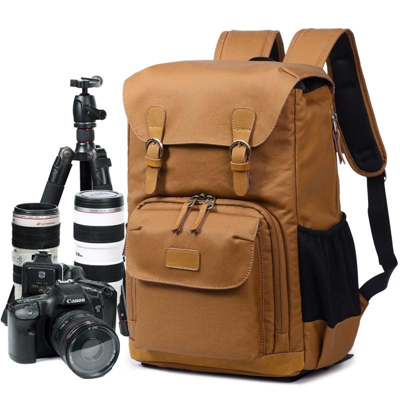 M165 Canvas Leather Multi function Retro Camera Bag Waterproof SLR Camera Backpack Black Travel Camera Backpack