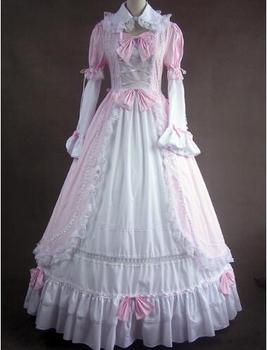 Can be custom 2015 Retro Pink/Purple Removable Sleeve Renaissance Bow Victorian Gothic Lolita Dresses