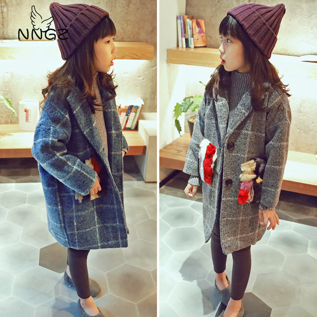 2016 new winter Girls Kids Color striped velvet pocket plaid jacket comfortable cute baby Clothes Children Clothing 15W