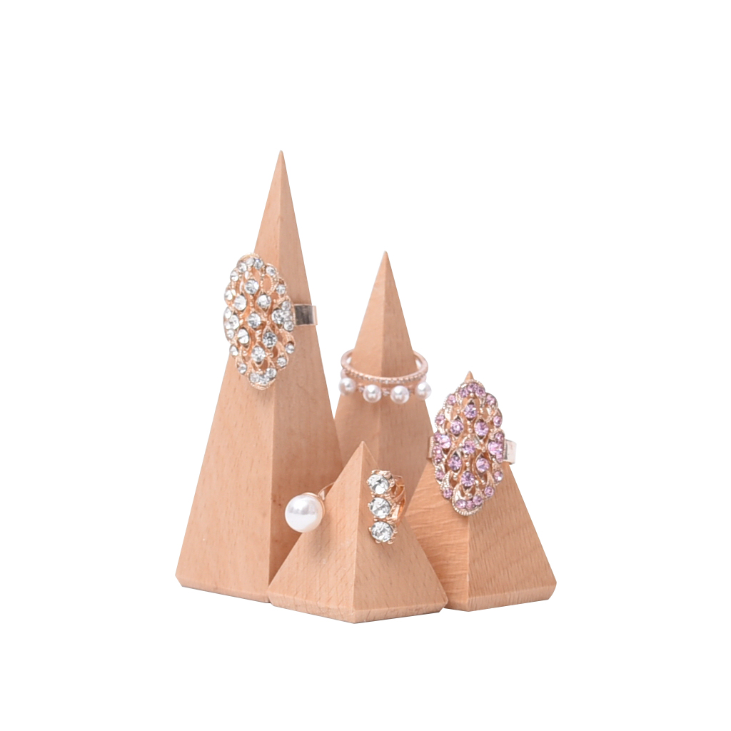 4 Pieces Unpainted Plain Geometric Wooden Ring Jewelry Display Stand