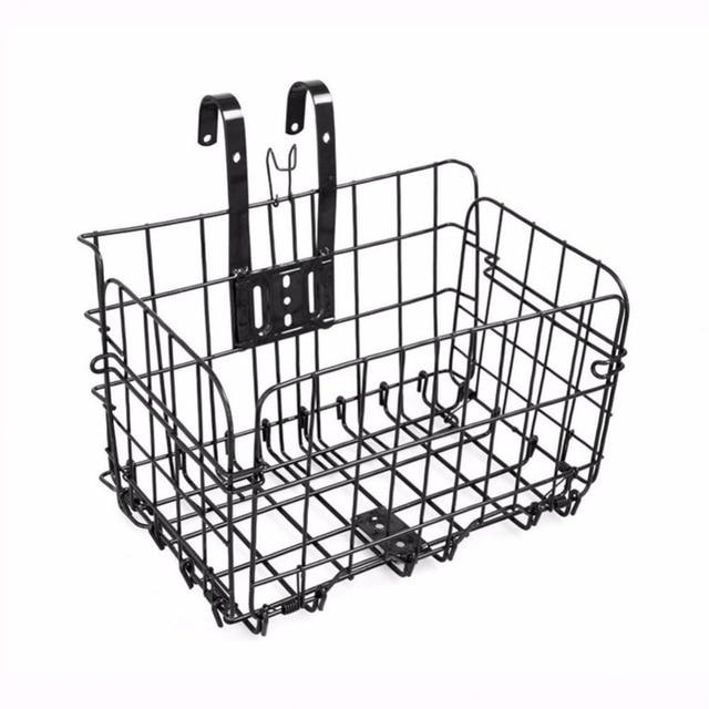 ALTRUISM Foldable Black Steel Basket for Bicycle Bike Front Bag Rear Hanging Bike Basket Bicycle Bag Road MTB Bike Accessories
