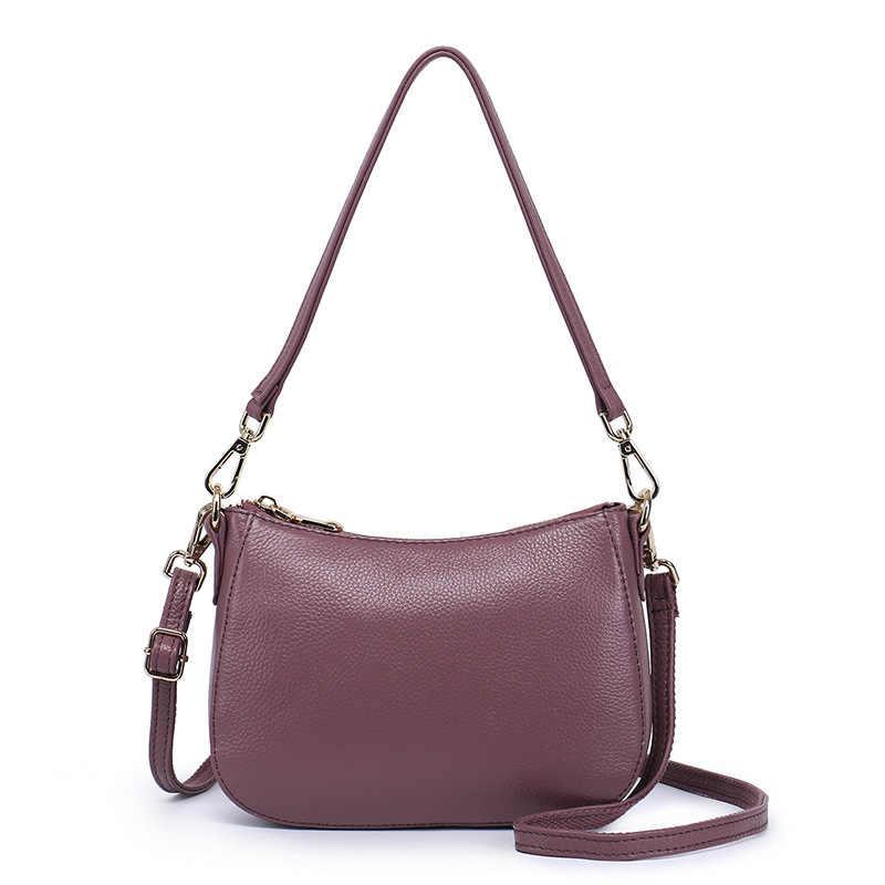 Luleez женская сумка из натуральной воловьей кожи, мини-сумка, Классическая, черная, синяя, фиолетовая, многофункциональная, большая емкость 2018, новинка, SF180226