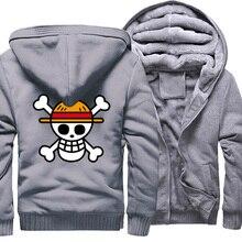 One piece Hoodies Men Japanese Anime Sweatshirts Coat 2019 Winter Warm Fleece Thick Zipper Harajuku Jacket Streetweart Mens Tops