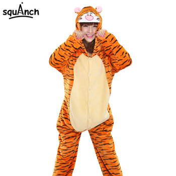 Women Onesie Tiger Pajama Adult Unisex Party Funny Suit Cartoon TIGGER Costume Animal Pyjama Winter Warm Disguises Fancy Outfit  stuffed toy